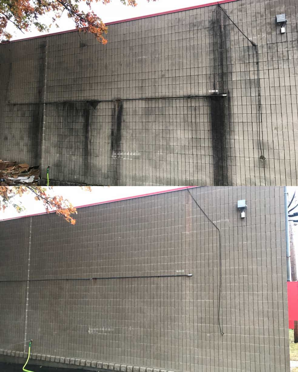 The side of a concrete building before Even Flow and after