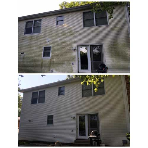 Even Flow uses a low pressure washing system to rid your siding of dirt and algae.