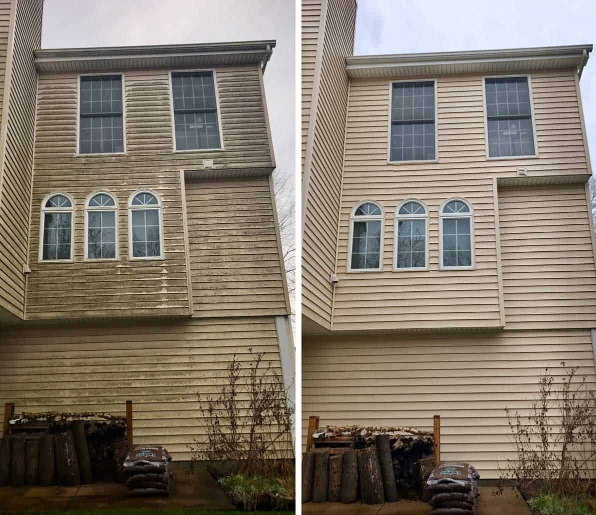 On the left, a dirty house before Even Flow and on the right, the same house is sparkling clean