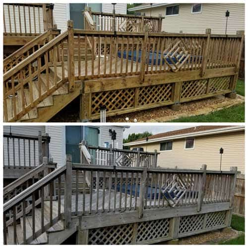 before and after a deck cleaning by Even Flow